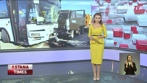 13 человек пострадали при столкновении КамАЗа и автобуса