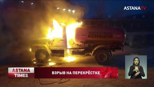 Автомобиль взорвался в центре Актау